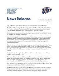 UTEP Engineering hosts National Center for Women & Information ...