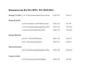 Klausuren im BA/MA BWL WS 2010/2011 - BWL-UP