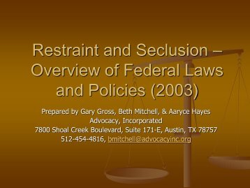 Restraint and Seclusion – Overview of Federal Laws and Policies ...