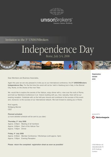 Official Invitation Independence Day 2008 - UnisonBrokers
