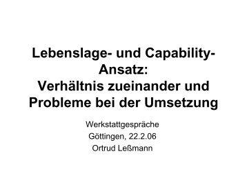 Lebenslage- und Capability-Ansatz: Verhältnis ... - soeb.de