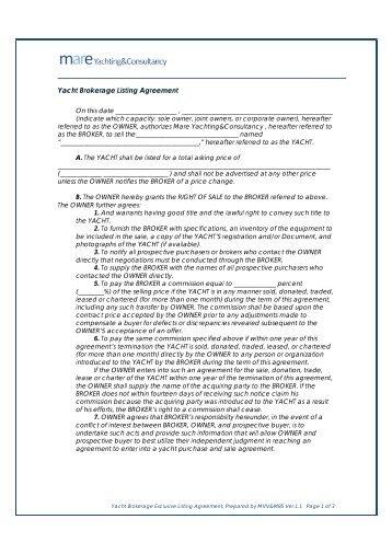 Yacht Brokerage Exclusive Listing Agreement Mareyachting