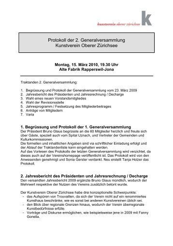 Protokoll der 2. Generalversammlung Kunstverein Oberer Zürichsee