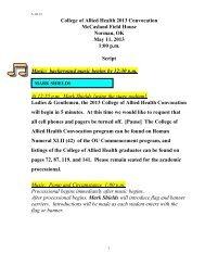 script - College of Allied Health - University of Oklahoma Health ...