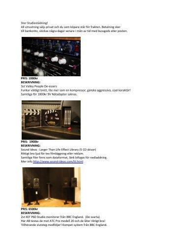 Stor Studiostädning! All utrustning säljs privat och du ... - Nevo Studios