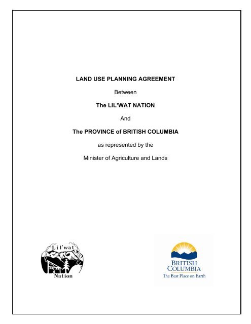 Land Use Planning Agreement Between Smart Growth Bc