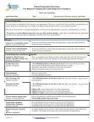 Patient Preparation Instruction Sheet - Markham Stouffville Hospital