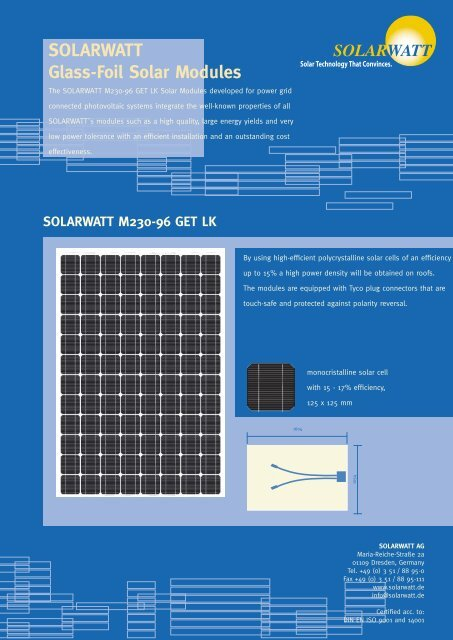 SOLARWATT Glass-Foil Solar Modules - Nature Power