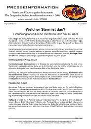 Einführungsabend in die Himmelskunde am 13. April