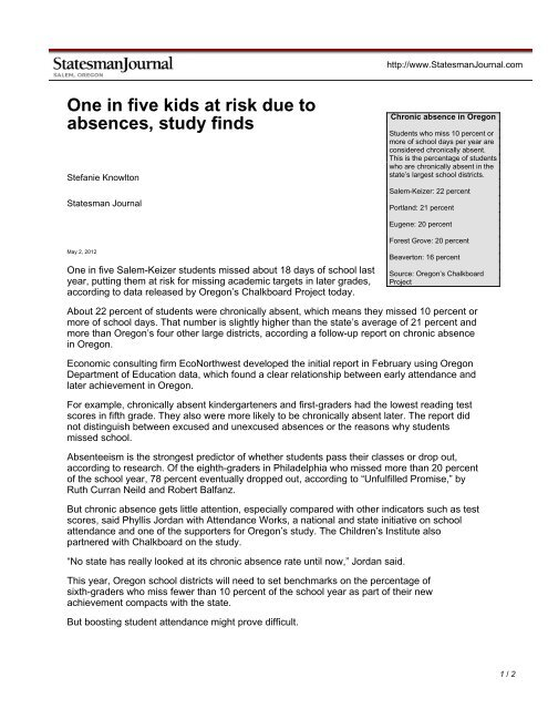 Study Shows Kids Test Scores Drop When >> One In Five Kids At Risk Due To Absences Study Finds The