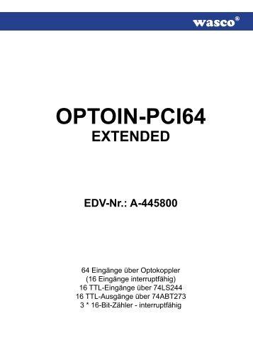 OPTOIN-PCI64 - Messcomp Datentechnik GmbH