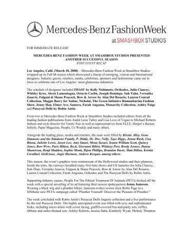 mercedes-benz fashion week at smashbox studios presented