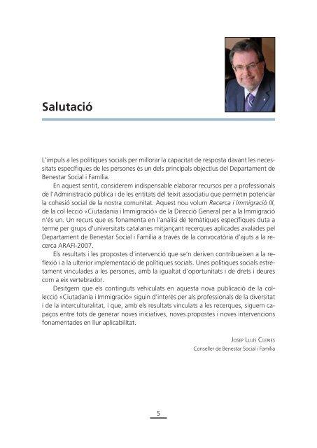 RECERCA I IMMIGRACIÓ III - Premsa - Generalitat de Catalunya