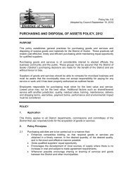 purchasing and disposal of assets policy, 2012 - District of Sooke