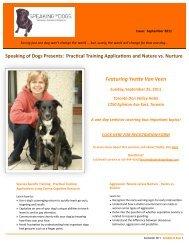 SPEAKING OF DOGS SEPTEMBER 2011 NEWSLETTER