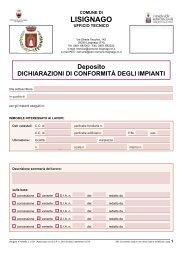 13. Deposito dichiarazione conformità impianti - Comune di Lisignago
