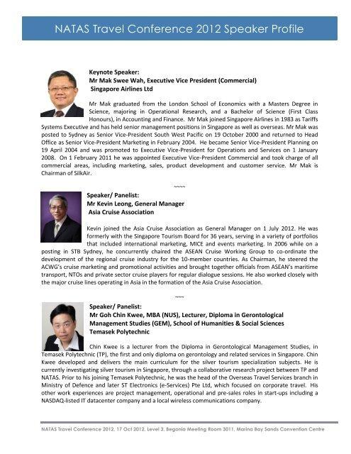 NATAS Travel Conference Speaker list - ITB Asia