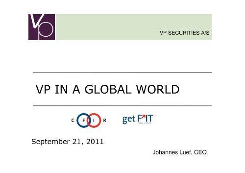 VP IN A GLOBAL WORLD - CFIR
