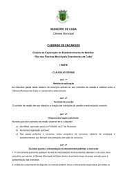 MUNICÍPIO DE CUBA Câmara Municipal CADERNO DE ENCARGOS