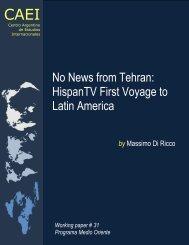 No News from Tehran: HispanTV First Voyage to Latin America - CAEI