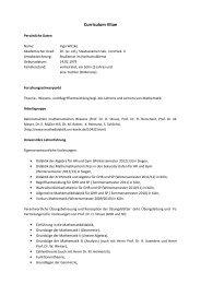 Curriculum Vitae Siegen III - Seminar für Mathematik und ihre Didaktik