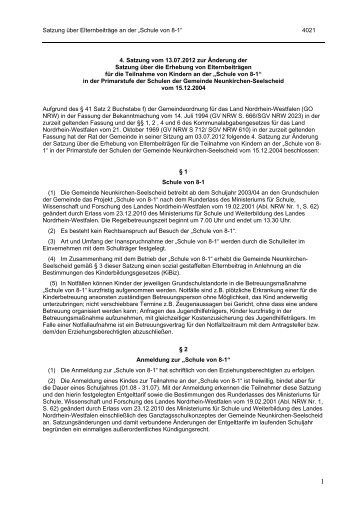 """Satzung über Elternbeiträge an der """"Schule von 8-1"""" 4021 4 ..."""