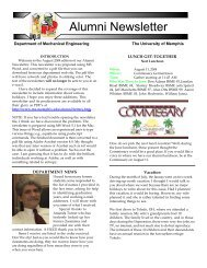 Alumni Newsletter - Mechanical Engineering - University of Memphis