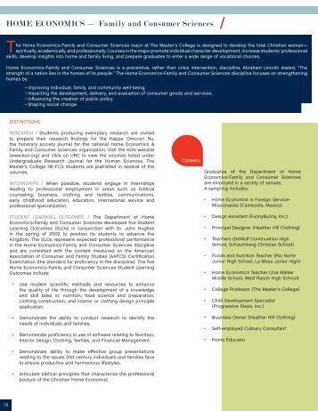 HOME ECONOMICS — Family and Consumer Sciences /
