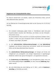 Reglement der Schulzahnklinik Arbon - Psgarbon.ch