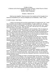 1 A Letter to Jesus A Sermon at the First Congregational Church of ...