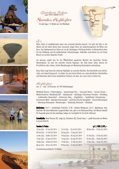 Namibia Highlights - Outdoor Adventure