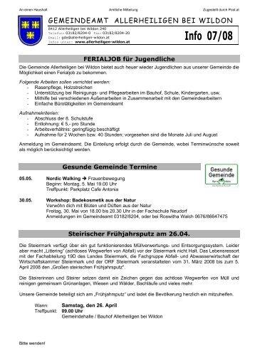Mitteilung 7/2008 - Gemeinde Allerheiligen bei Wildon