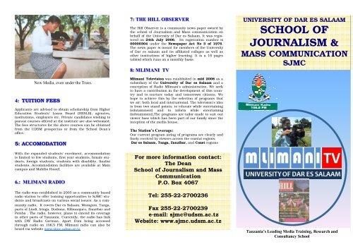 SJMC Brochures Online - School of Journalism and Mass