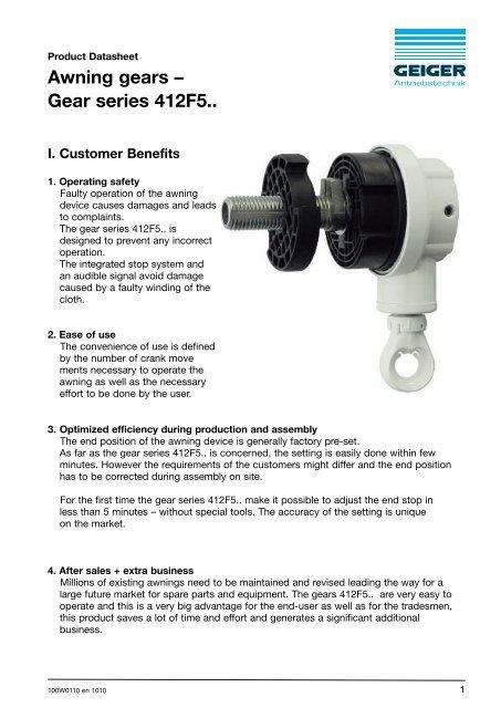 Awning Gears A Gear Series 412f5 Geiger Antriebstechnik