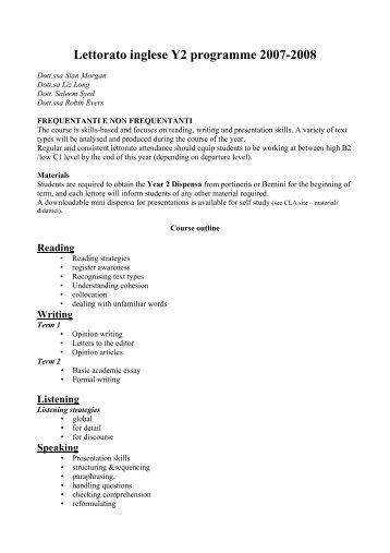 Lettorato inglese Y2 programme 2007-2008