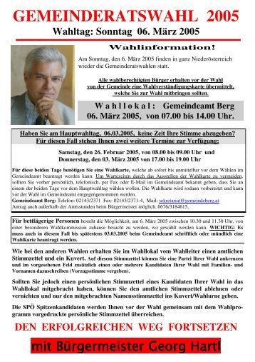 Infoaussendung 1, vor der GRW 05 mit Kandidaten