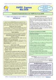 FAPÉE Express Mai 2009 - Revue de Presse - Fapee.com