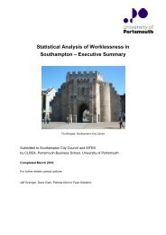 Statistical Analysis of Worklessness in Southampton – Executive ...