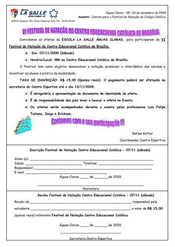 Convidamos os atletas da ESCOLA LA SALLE ÁGUAS CLARAS ...