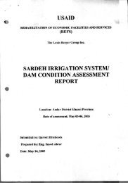 Sardeh Irrigation System Dam Condition Assessment Project - Afghan