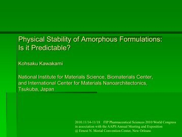 Physical Stability of Amorphous Formulations