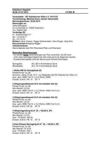 Ausschreibung Kl. Turnier2012 - Reitanlage-hegehof.de