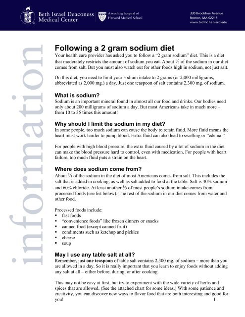 Following A 2 Gram Sodium Diet