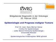Epidemiologie und Prognose maligner Tumore - Krebsregister NRW