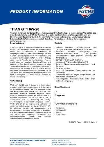 TITAN GT1 0W-20 - Korb Schmierstoffe