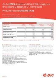 Ceník LEDEN dodávky elektřiny E.ON Energie, a.s.