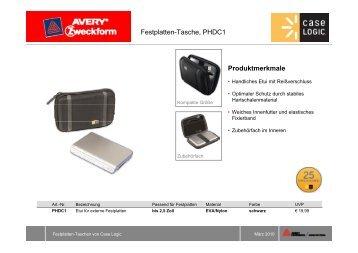 Festplatten-Tasche, PHDC1 Produktmerkmale