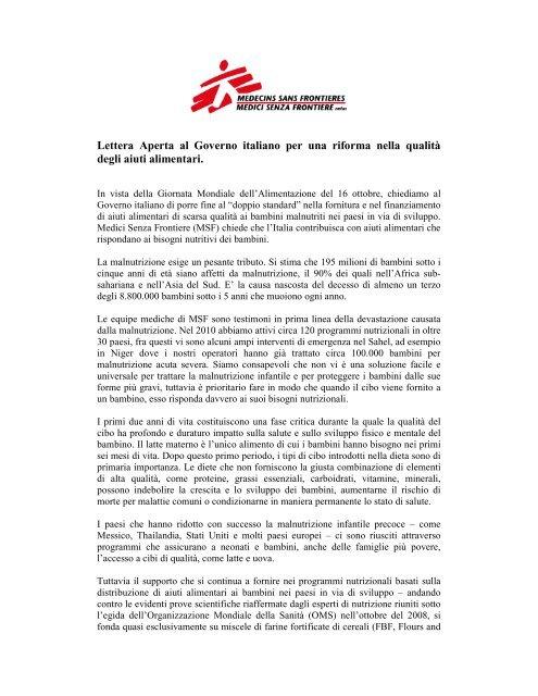 Lettera Aperta al Governo italiano per una riforma nella qualità degli ...