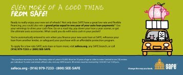 EVEN MORE OF A GOOD THING FROM SAFE! - SAFE Credit Union