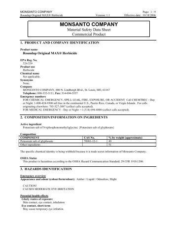 MSDS Roundup Original MAX® Herbicide - Schendel Pest Services